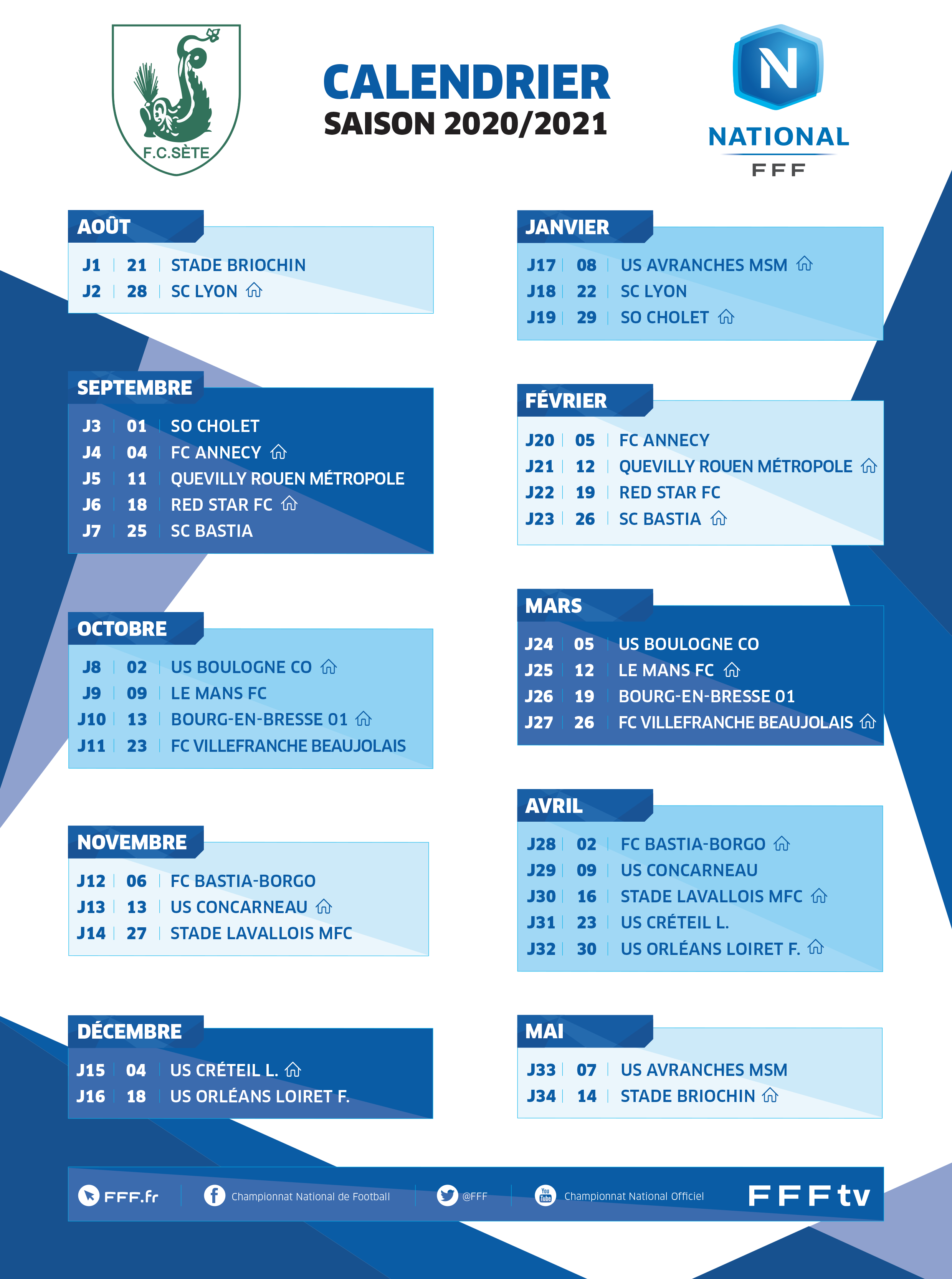 CALENDRIER   FC Sète 34   Site officiel du Football Club de Sète 34